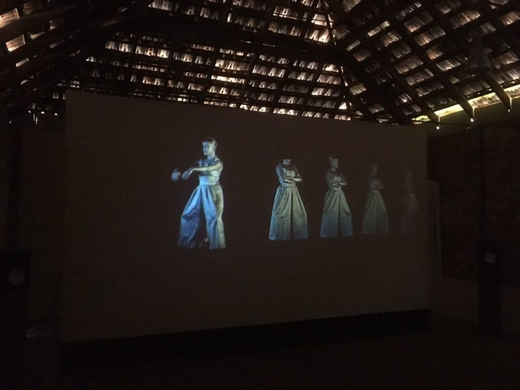 """Scotland-based Hanna Tuulikki's """"Sourcemouth: Liquidbody"""" (2016) video installation at Pepper House competes the diaphanous roof. Her work engages with Indian dance tradition in particular the symbolism of the river."""