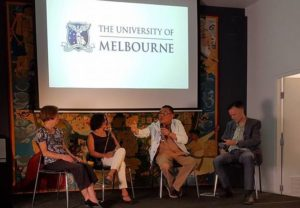 From left: Barbara Hatley, Krishna Sen, Garin Nugroho and Ewdwin Jurriens at the University of Melbourne panel discussion on 'Satan Jawa', 23 Feb 2017. Image: Indonesia Froum