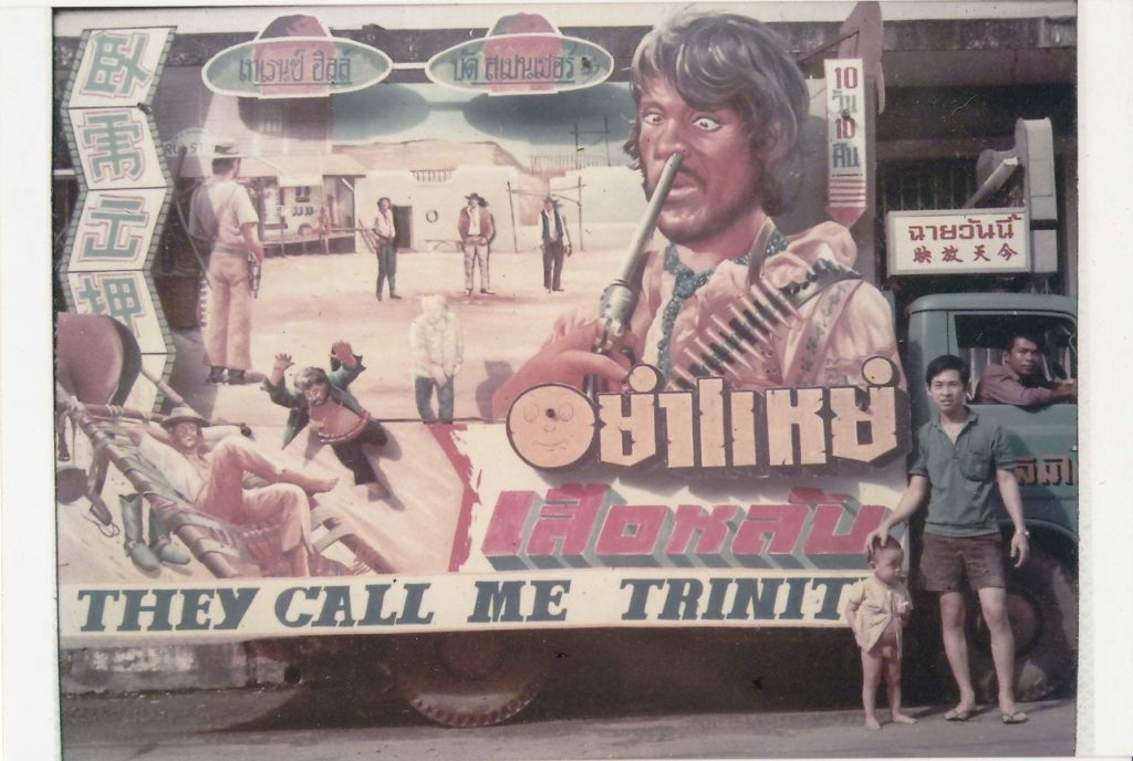 """Advertising truck featuring a billboard for """"They Call Me Trinity"""". From the collection of Prof. Jaras Chanphromrat"""