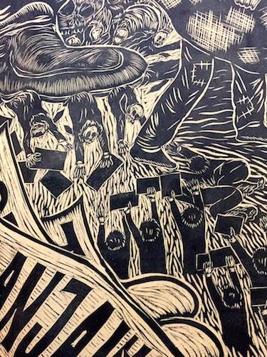"""Detail from Pangrok Sulap's """"Sabah Tanah Air-Ku"""". Image: Ng Peksan"""