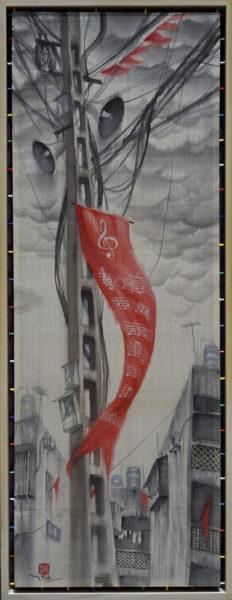 "Nguyen Thế Sơn, ""Red Days"" (2017), silk painting"