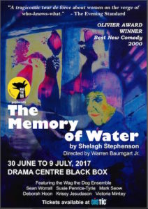 "Wag the Dog's inaugural production ""The Memory of Water"""