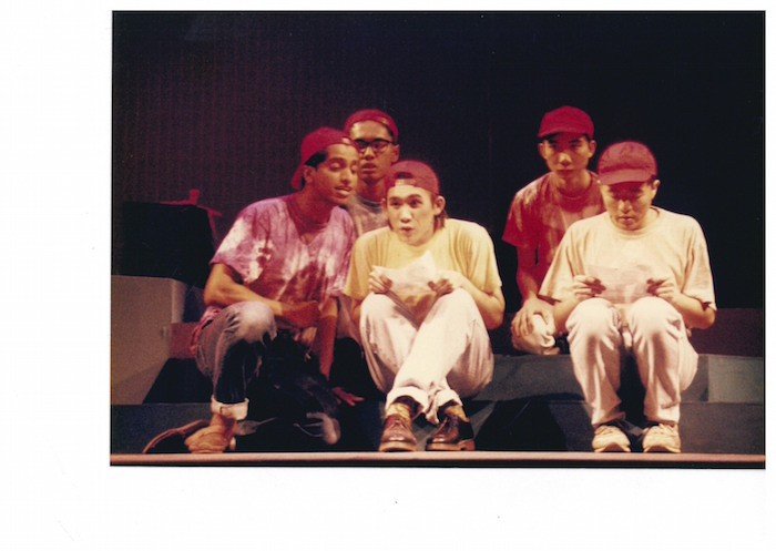 Abdul Latiff Abdullah as Vinod, with ensemble, in the original September 1993 staging at The Drama Centre. Photo: The Necessary Stage