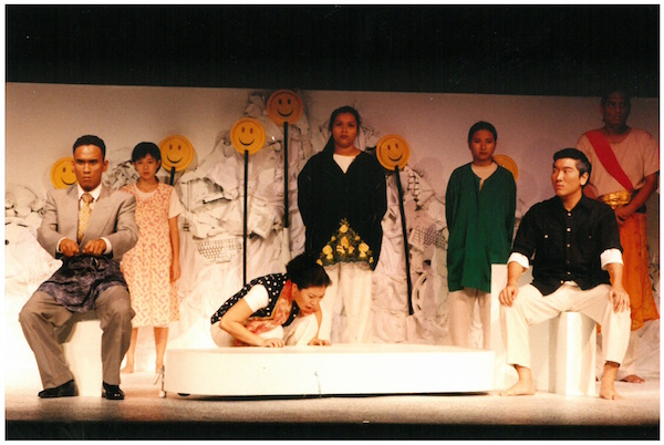 Pillars (1997). A co-presentation with Teatre Kami, Pillars was directed by Alvin Tan. Haresh Sharma served as the dramaturg/facilitator for the production. The performance cast included Alin Mosbit, Keatar HM, Low Kah Wei, Mohd. Fita Helmi B. Tahir, Zelda Tatiana Ng, Noora Zul, Dick Su, Verena Tay and Geraldine Wee. Image credit: The Necessary Stage