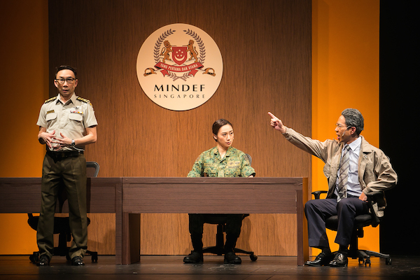 First-ever female Chief of Army, BG Wong (Oon Shu An), Director of Public Affairs, COL Malcolm Png (Hossan Leong) and Defence Minister Yeo Hup Seng (Chua Enlai). Photo: Alfred Phang, Army Daze 2