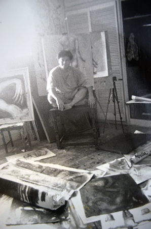Old photo of Nolet working in his studio at their old family house in Loyola Heights, Quezon City