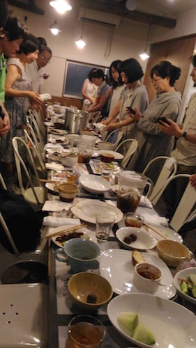 Collaborative art? The remains of R.I.P. Tokyo communal dinner on 17th July 2017