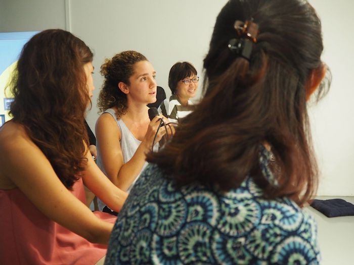 Gabriela Setrani interacts with audience members in The Substation Gallery.