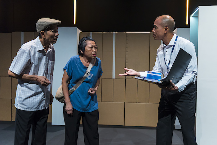 From left: Yang Shi Bin, Goh Guat Kian and Brendon Fernandez in a scene between Xin Yi and her case worker in Underclass.