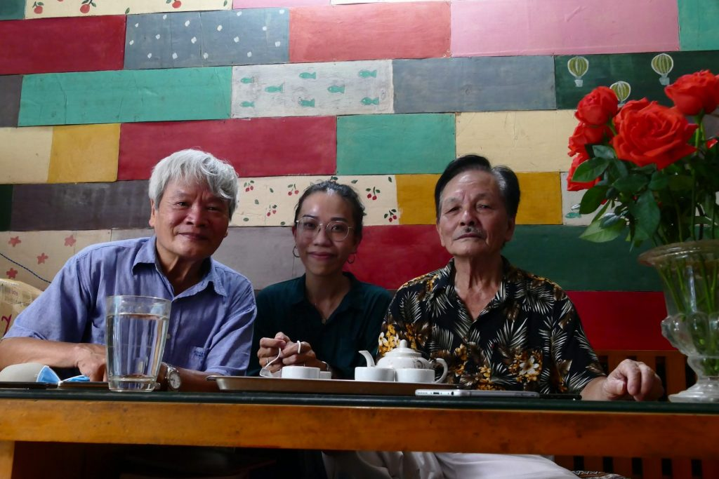 From left to right Nguyen Dinh Toan, Duong Nguyen, Yellow music singer Loc Vang.